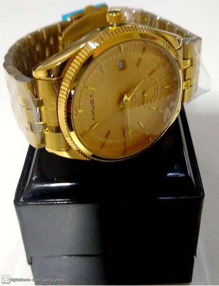 Relógio Feminino Aço Dourado É Resistente À Água