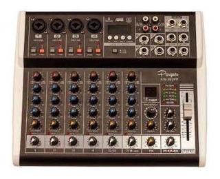 Consola Mixer Potenciada Parquer 8 Canales 125w Lado Cuota