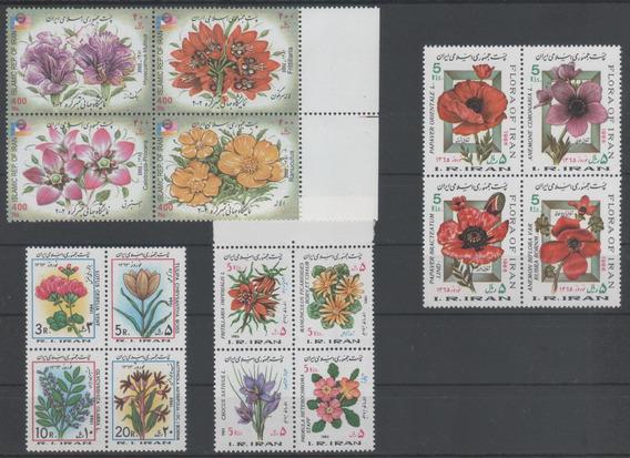 Sellos Iran 4 Series Completas Flores Diversos Años Mint