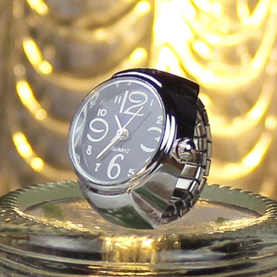 Relógio Feminino De Dedo Anel Mostrador Quartz Preto