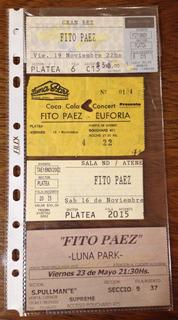 Antiguo Lote De 4 Entradas Viejas De Fito Páez