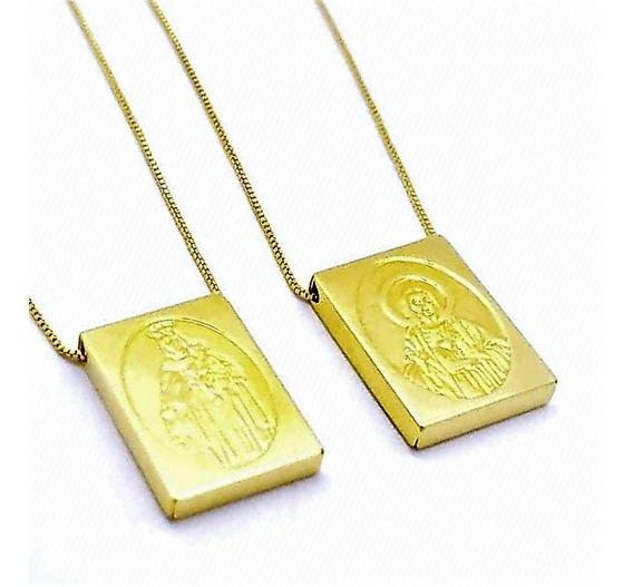 Cordão Escapulário Sagrado Coração Banho Ouro 18k 4655