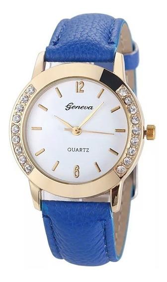 Relógio Luxo Feminino Pulseira De Couro Geneva Promoção