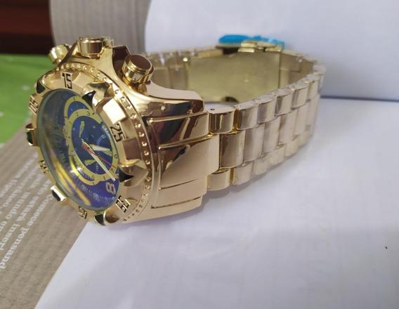 Relógio Dourado Masculino Grande Pesado Lindo Luxo
