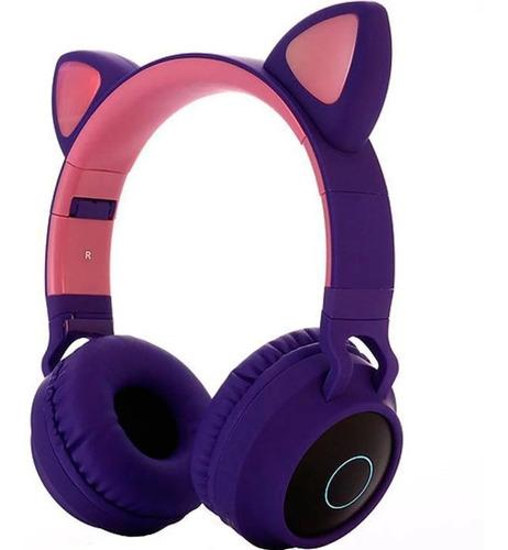 Audífonos Diadema Bluetooth Fm Micro Orejas De Gato Y Luces