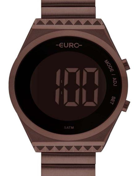 Relógio Euro Feminino Digital Chocolate Eubjt016af/4m + Nf