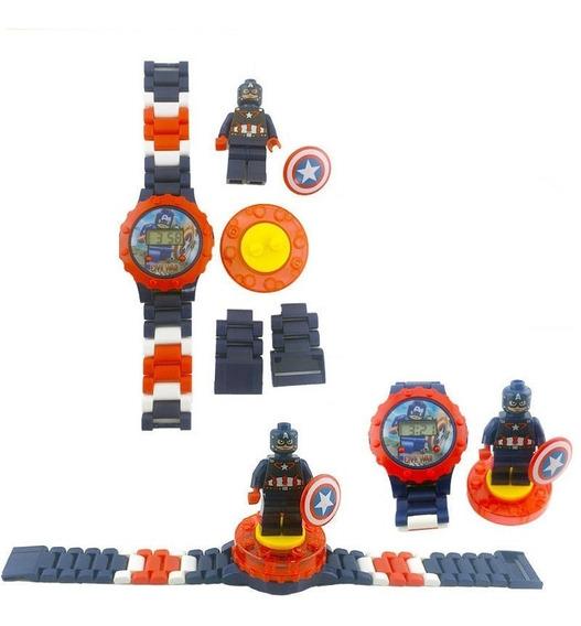 Reloj Capitan America Tipo Lego Con Mini Figura Sin Caja/empaque