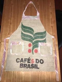 Delantal Cafe Bolsa Tela Arpillera Barista Mujer Floral