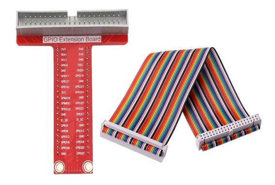10x Placa De Extensão T Gpio Raspberry Pi + Cabo 40 Pinos