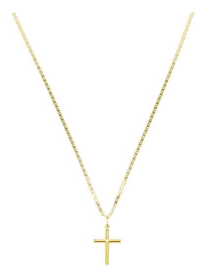 Cordão Corrente Masculina Piastrine 60cm+ Crucifixo Ouro 18k