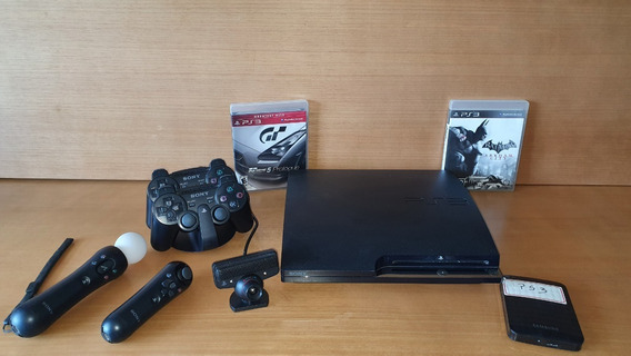 Ps3 Slim Desbloqueado 160gb + 2 Controles + Dock + Move + Hd