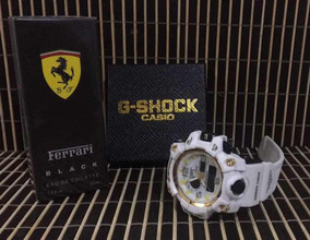 Relógio Masculino G-shock Branco + Contratipo Ferrari Black