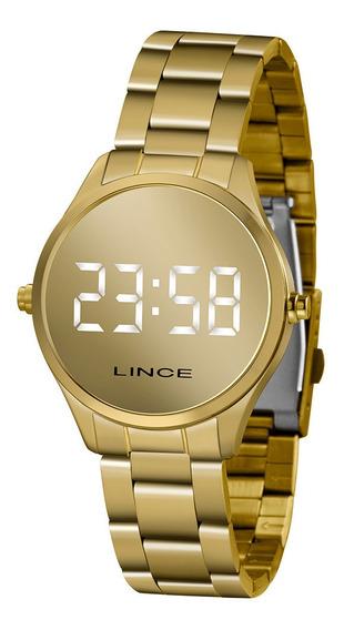 Relógio Mdg4617l Bxkx Lince Dourado Led Feminino Ouro 18k