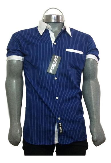 Camisa M/corta - Fango - Rayas Blanca
