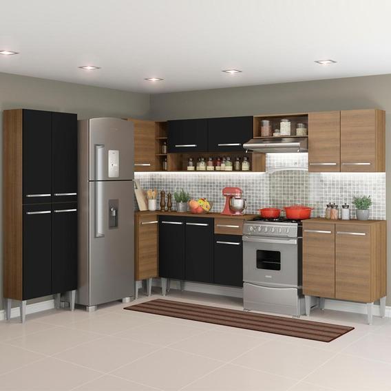 Cozinha Completa Canto Madesa Emilly 481 C/ Armário E Balcão