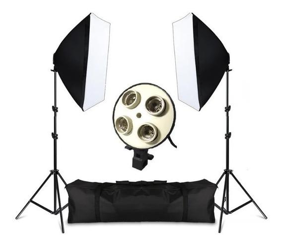 Kit Iluminação Beleza Softbox Tripés Lampada Foto E Filmagem