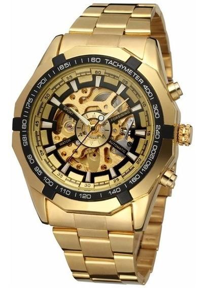 Relógio Masculino Dourado Forsining Skeleton Automático