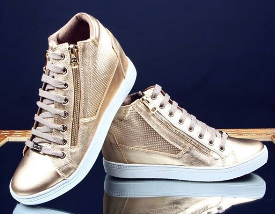 Tênis Sneaker Dourado Salto Embutido Orcade