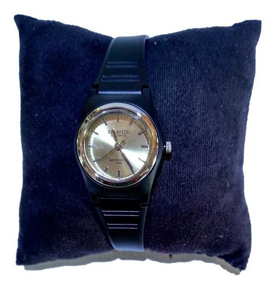 Relógio Atlantis Sports Preto Fundo Dourado Correia Borracha