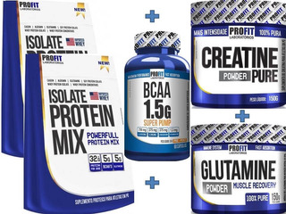 Kit Profit 2-isolate 900g+bcaa 60caps+glutamina+creatina