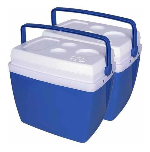 Caixa Térmica Mor 26 Litros Azul Com Alça 2 Unidades