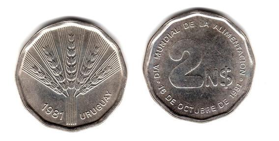 Uruguay Moneda 2 N$ Pesos Año 1981 Dia Mundial Alimentacion
