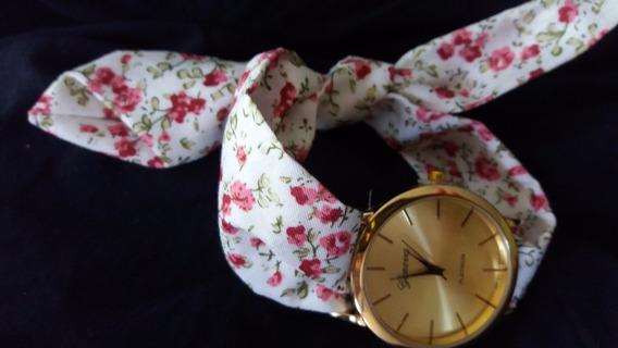 Promoção Lindo Relógio Hip Chic Tecido Floral 29