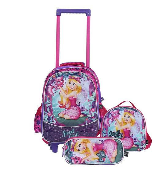 Kit Mochila Escolar Infantil Rodinhas Princesas Rosa Pink