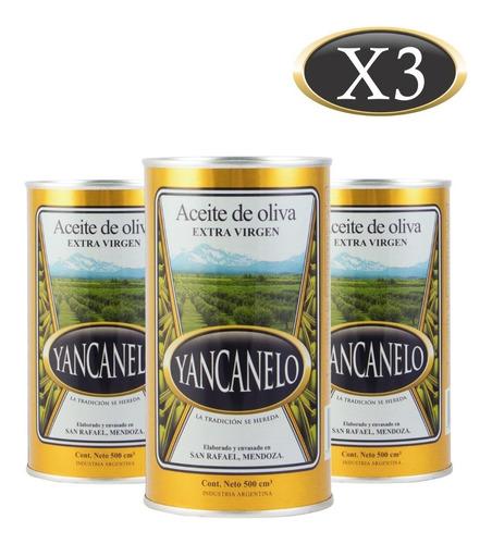 Aceite De Oliva Extra Virgen Yancanelo Lata 500 Ml X 3 U