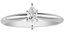 Anillo Con Diamante Cultivado Marquise De 50 Pts. En Oro 14k