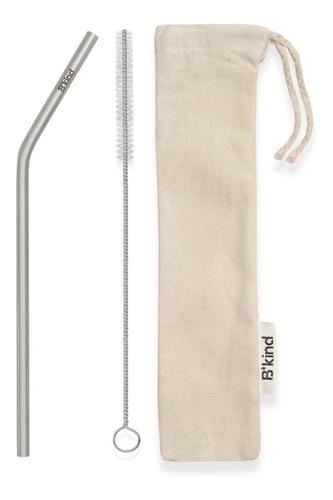 Kit 30 Canudos Aco Inox Metal B'kind + 30x Escova + 30x Bag