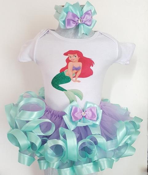 Tutu Para Bebé Con Orilla De Listón, Sirenita Ariel. 12meses