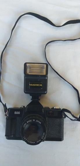 Máquina Fotográfica Yashica 500 Antiga C/ Flash Enfeite