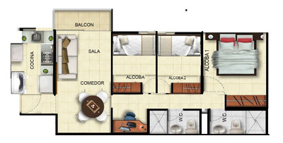 Departamento 3 Habitaciones San Miguel