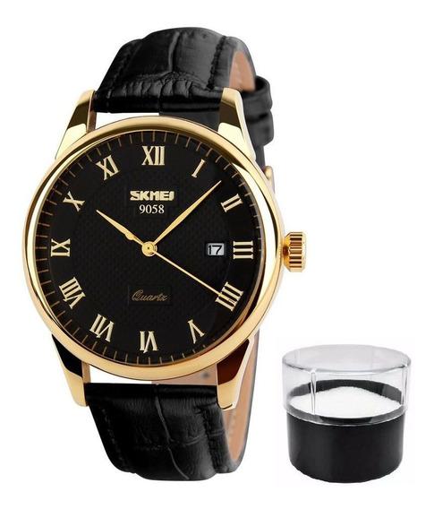 Relógio Skmei De Luxo Original Pulseira Couro Modelo 9058