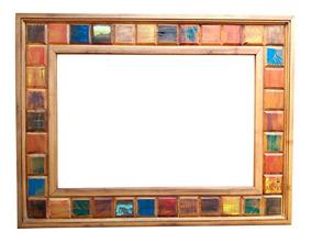 Moldura Espelho Decorativo Banheiro Madeira Demolição 90x70