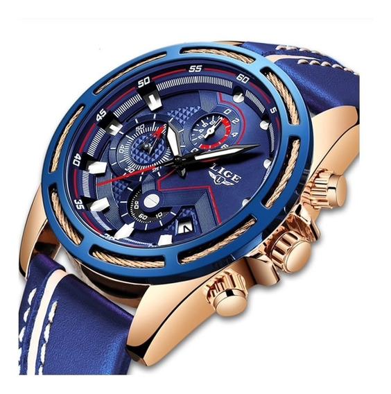 Relógio Masculino Lige 9882 Luxo Esportivo Social Casual