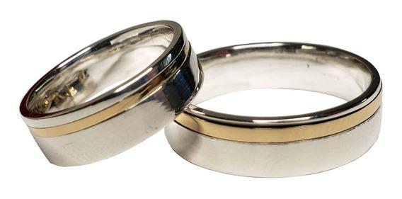 Aliança De Prata Namoro Com Filete De Ouro - Reali Joias