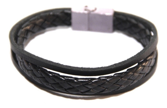 Pulseira Bracelet Masculino Couro Fecho Magnético Sob Medid