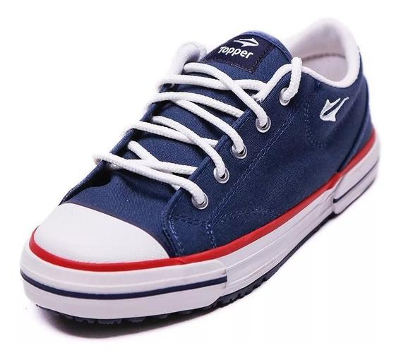 Zapatillas Topper Lona Nova Low Azul Talles 35 Al 45