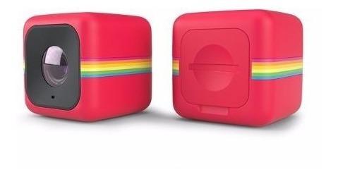 Câmera De Ação Cube Da Polaroid Vermelha + Soporte Bicicleta