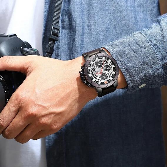 Relógio Naviforce Original Couro Elegante Prova D