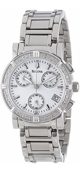 Relógio Bulova Feminino Prata C/ Diamantes C637381 Pequeno
