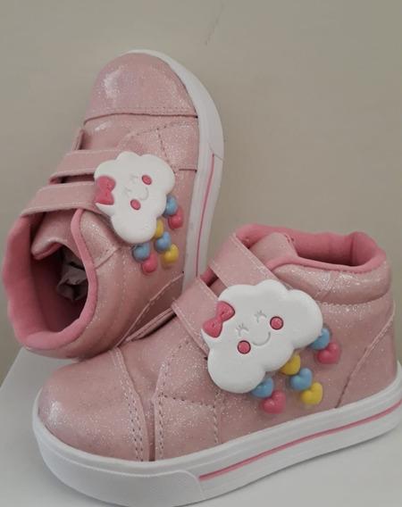 Tênis Infantil Cano Alto Nuvem - Rosa Menina Com Glitter
