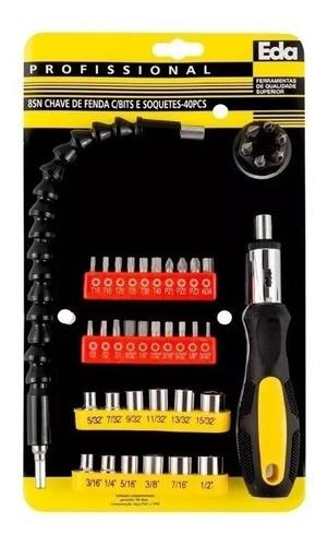 Chave Manual E Eixo Flexível Com 40 Pontas Parafusadeira