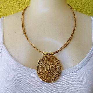 Colar Mandala De Capim Dourado - Ref: 5585