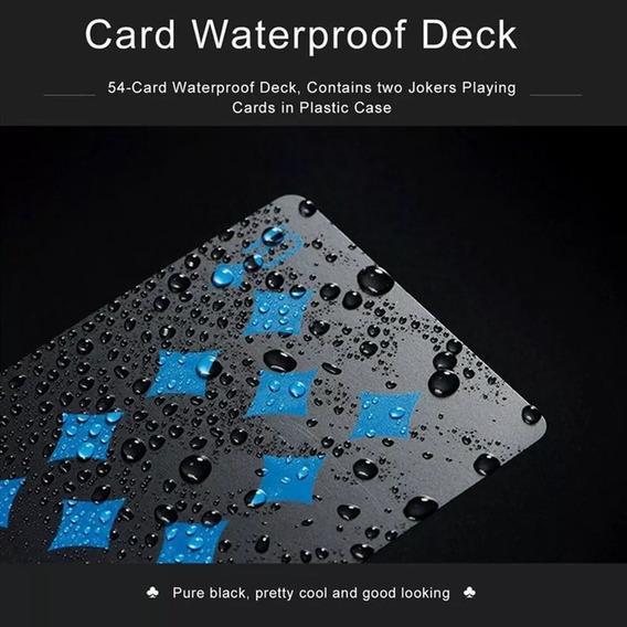 Baralho Poker Truco 21 Preto De Plástico À Prova D