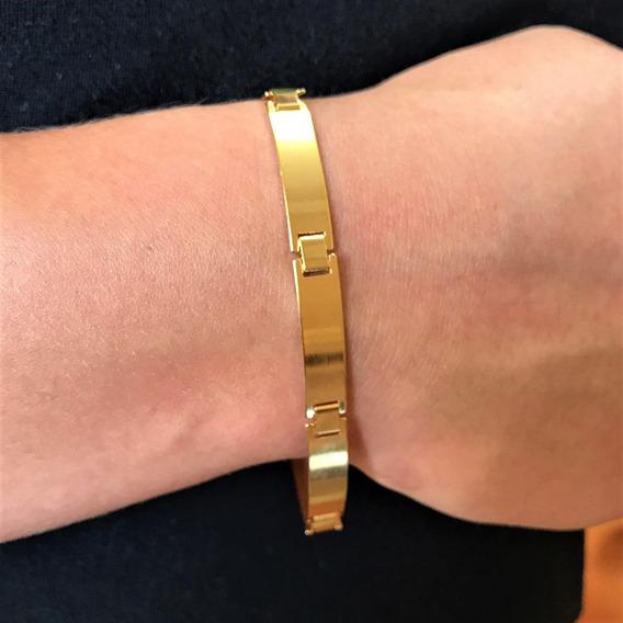 Bracelete Masculino Liso 7mm 8,5g Banho De Ouro 18k Versace