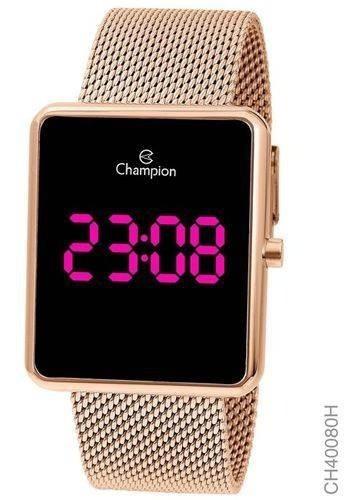 Relógio Champion Feminino Digital Led Quadrado Rosê Ch40080h