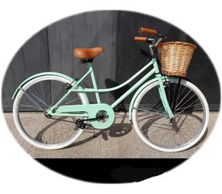 Bicicleta Vintage Dama La + Buscada Retro !! Con Mimbre!!